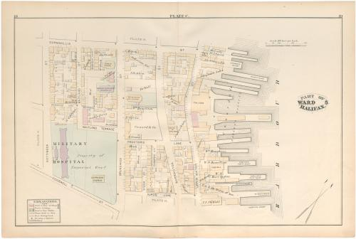 Plate C from the 1878 Hopkin's Atlas of Halifax showing the location of the Cogswell St. Military Hospital