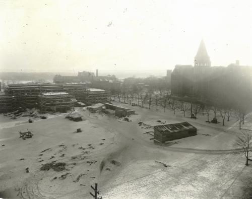Dalhousie Public Health and Outpatient Clinic under construction (at left), February 3, 1923. The new Tuberculosis Hospital is in the background.