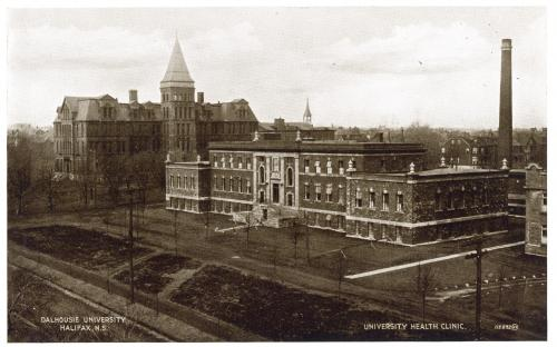 "Postcard of the completed Dalhousie University Public Health Clinic. The cornerstone of the building noted that ""It was erected to facilitate the training of medical students in methods of caring for the public health and to assist in alleviating sickness and suffering in the city of Halifax."""