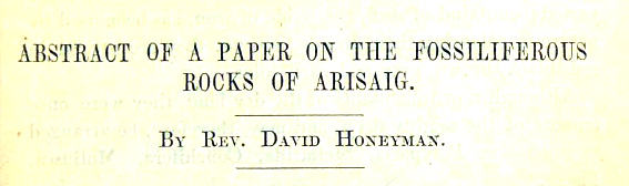 Title page - Abstract of a Paper on the Fossiliferous Rocks of Arisaig