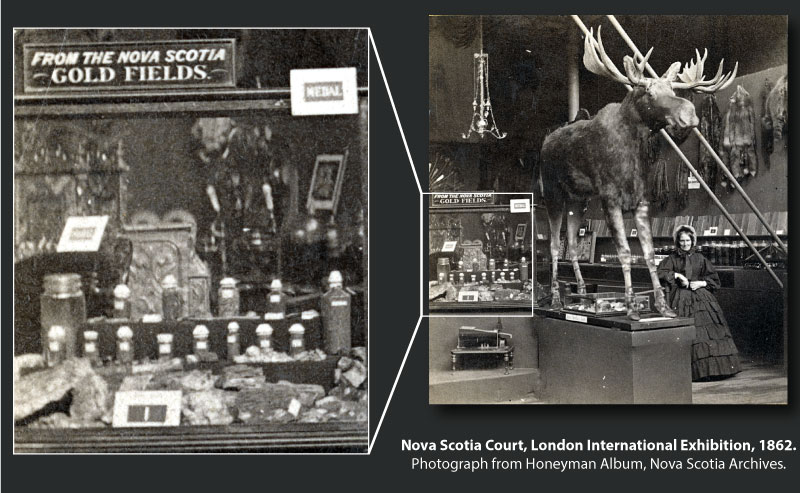 Gold Display, Nova Scotia Court at the London International Exhibition, 1862.