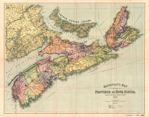 MacKinlay's Map of the Province of Nova Scotia, Compiled from Actual & Recent Surveys, A.W. MacKinlay, [Halifax], 1912.