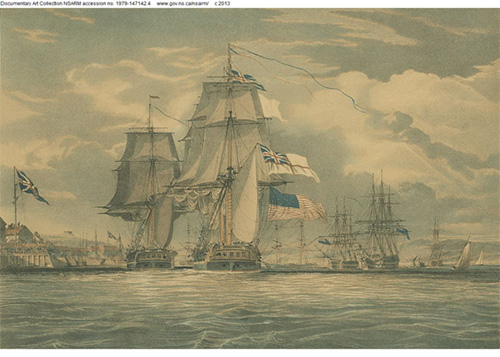 ''HMS Shannon leading her prize, the American Frigate Chesapeake into Halifax Harbour, on the 6th June 1813''