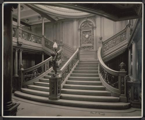 Grand Staircase from Titanic's sister ship RMS Olympic, Library of Congress  LC-USZ62-26812