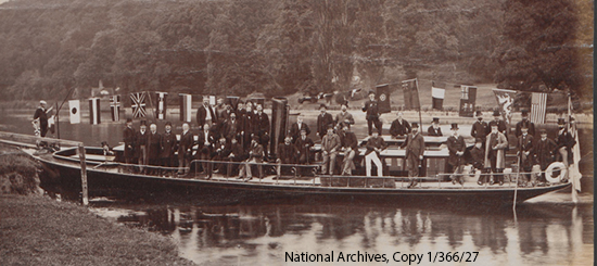 Delegates from 1883 Exhibition on Boat at Cliveden